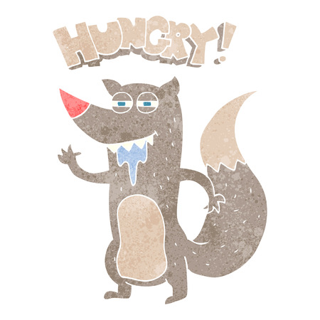 hungry: freehand retro cartoon hungry wolf Illustration