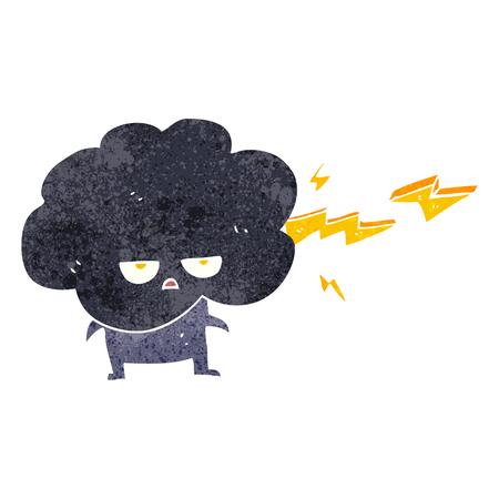 stormcloud: freehand drawn retro cartoon raincloud character shooting lightning