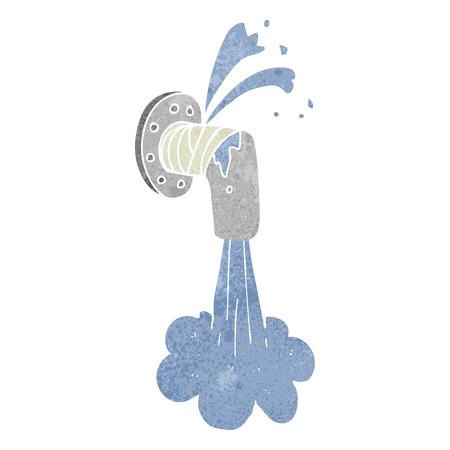 자유형 그려진 레트로 만화 새는 파이프