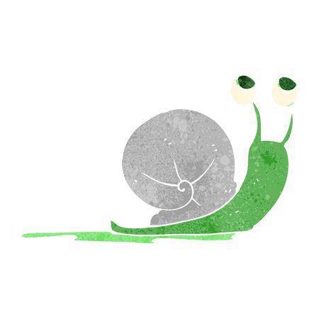 freehand drawn retro cartoon snail
