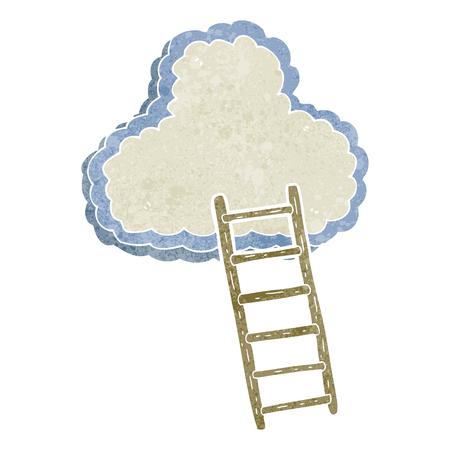 heaven: freehand retro cartoon ladder to heaven