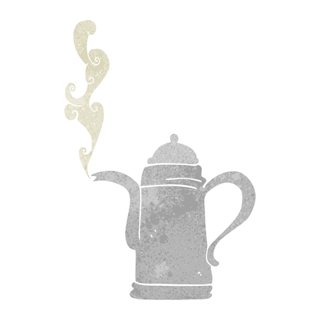 steaming: freehand retro cartoon steaming coffee kettle Illustration
