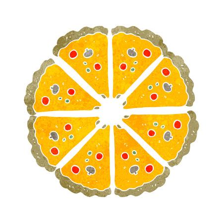 take out food: freehand drawn retro cartoon pizza Illustration