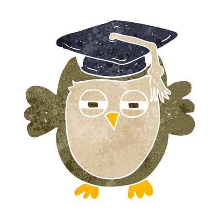 freehand retro cartoon clever owl