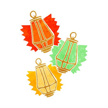 retro christmas: freehand retro cartoon christmas lanterns Illustration