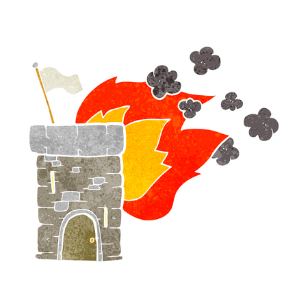 burning: freehand retro cartoon burning castle tower Illustration