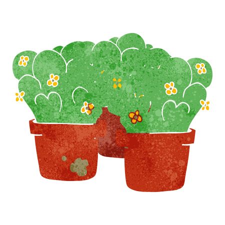 potted: freehand drawn retro cartoon potted plants Illustration