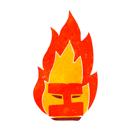 flaming: freehand drawn retro cartoon flaming letter I