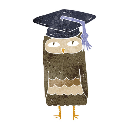 wise owl: freehand retro cartoon wise owl