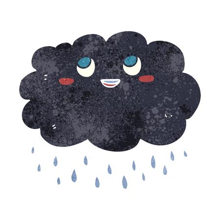 stormcloud: freehand drawn retro cartoon raincloud
