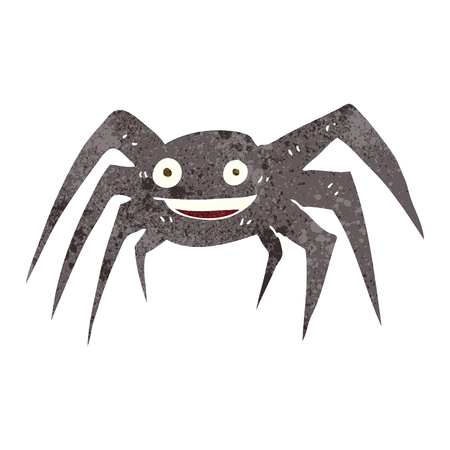 cartoon spider: freehand retro cartoon happy spider
