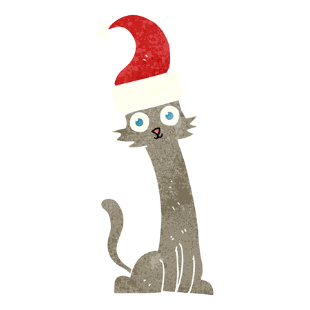 realization: freehand retro cartoon cat in christmas hat