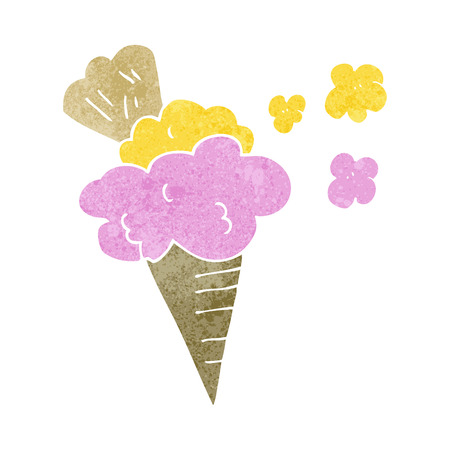 cartoon ice cream: freehand drawn retro cartoon ice cream Illustration