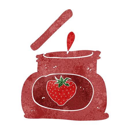 popping: freehand retro cartoon popping jar of jam