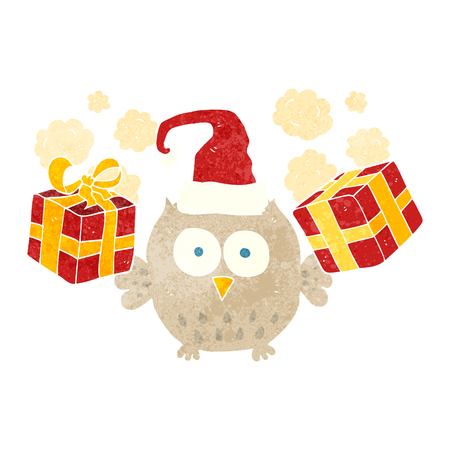 retro christmas: freehand retro cartoon christmas owl Illustration