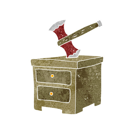buried: freehand retro cartoon axe buried in chest of drawers Illustration