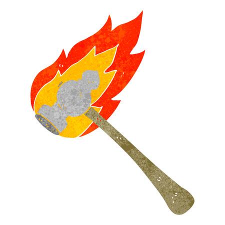 flaming: freehand drawn retro cartoon flaming hammer Illustration