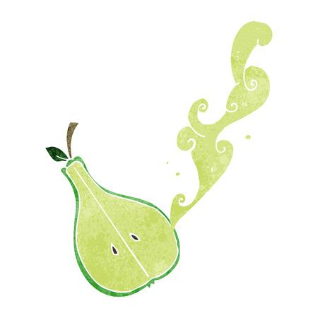 half: freehand drawn retro cartoon half pear