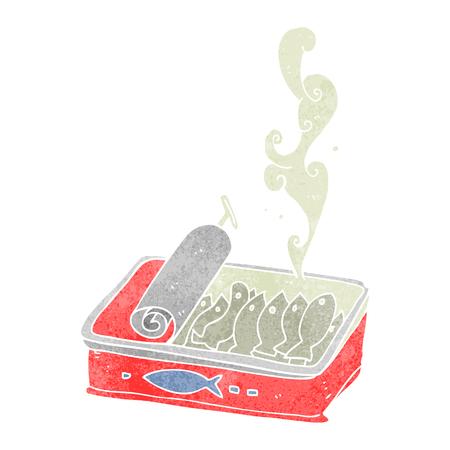 sardinas: de dibujos animados retro a mano alzada lata de sardinas