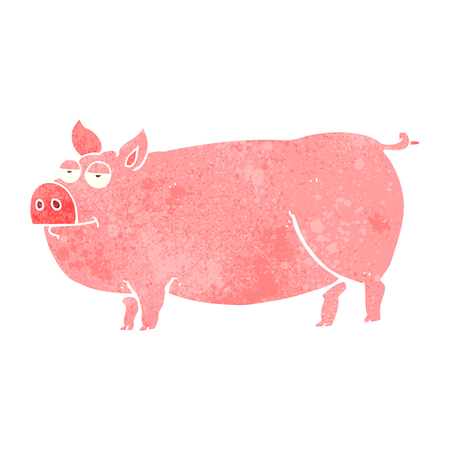 huge: freehand retro cartoon huge pig