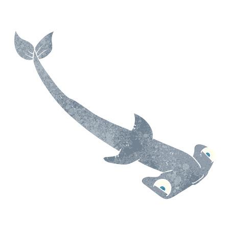 hammerhead shark: freehand retro cartoon hammerhead shark