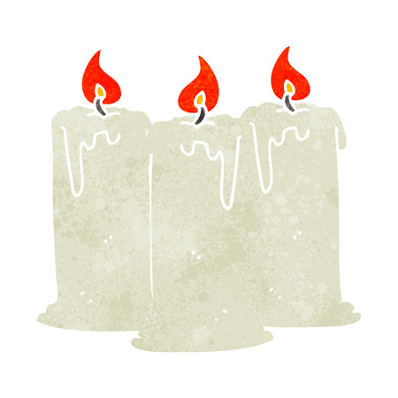 burning: freehand drawn retro cartoon burning candles