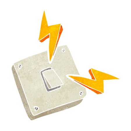 sparking: freehand retro cartoon sparking electric light switch Illustration