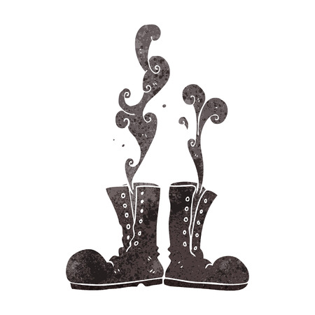 army boots: freehand retro cartoon steaming army boots