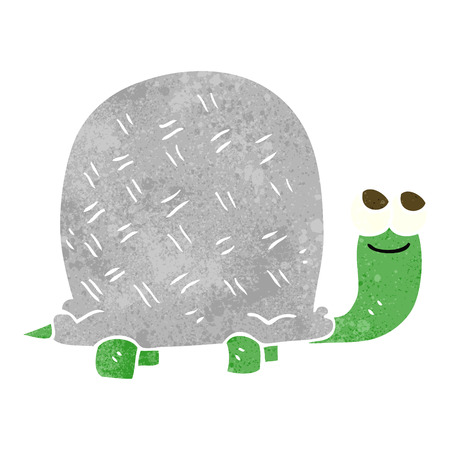 tortuga: a mano alzada tortuga de dibujos animados retro