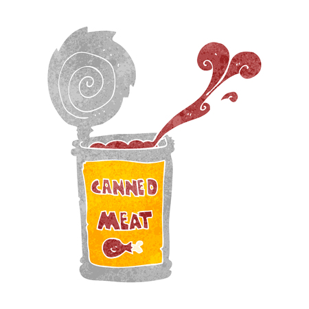 tinned: freehand retro cartoon canned meat