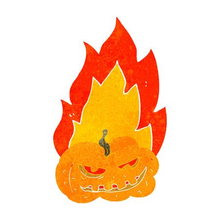 flaming: freehand drawn retro cartoon flaming halloween pumpkin