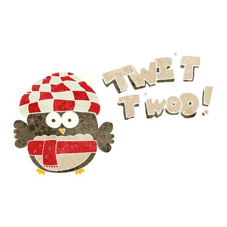 twit: freehand retro cartoon cute owl saying twit twoo Illustration