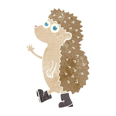 cartoon hedgehog: cute freehand drawn retro cartoon hedgehog Illustration