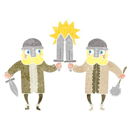 warriors: freehand retro cartoon viking warriors Illustration