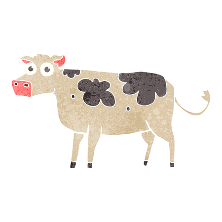 crazy cartoon: freehand retro cartoon cow