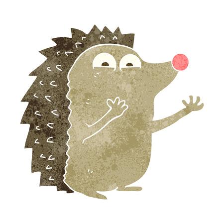 cute cartoon: freehand retro cartoon cute hedgehog