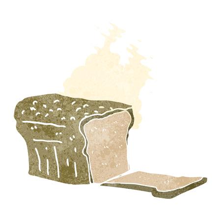 baked: freehand drawn retro cartoon fresh baked bread