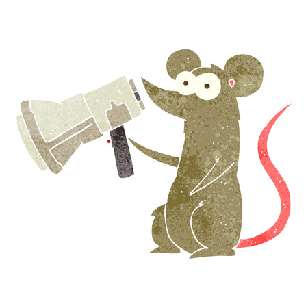 loudhailer: freehand drawn retro cartoon mouse with megaphone