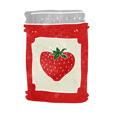 strawberry jam: freehand retro cartoon strawberry jam jar Illustration