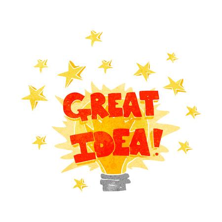 great idea: freehand drawn retro cartoon great idea light bulb symbol