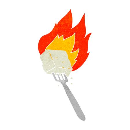 flaming: freehand drawn retro cartoon flaming tofu on fork Illustration
