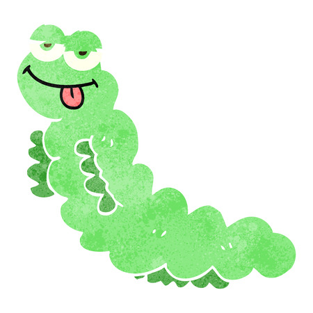 hand drawn cartoon: freehand drawn retro cartoon caterpillar Illustration