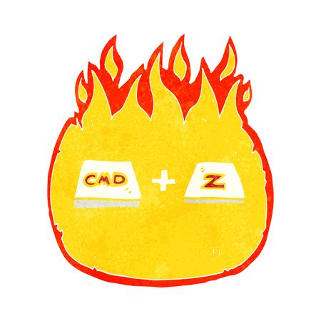 command: freehand drawn retro cartoon command Z function