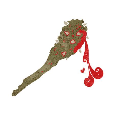 edad de piedra: retro dibujado a mano alzada de dibujos animados club de edad piedra sangrienta Vectores