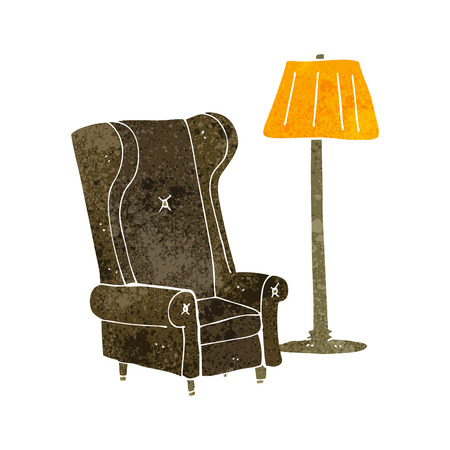 freehand drawn retro cartoon lamp and old chair Stock Illustratie