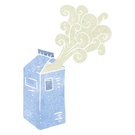 carton de leche: freehand drawn retro cartoon milk carton exploding