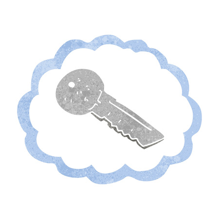 door key: freehand drawn retro cartoon door key Illustration