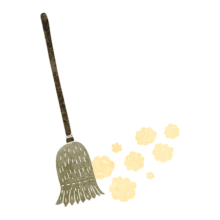 sweeping: freehand drawn retro cartoon sweeping brush