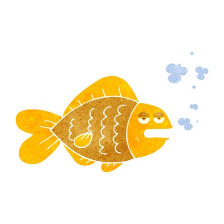 funny fish: freehand drawn retro cartoon funny fish