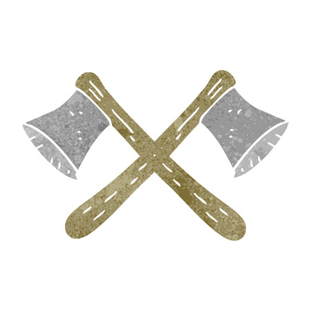 axes: freehand drawn retro cartoon crossed axes